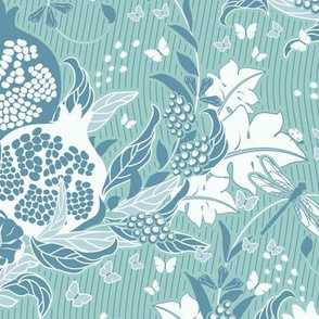 Pomegranate dream, Leaves, flowers and fruits of Pomegranate in a delicate turquoise color