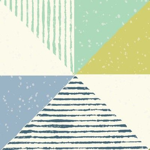 Textured Triangle Geo blue green 1x1 XL extra large scale
