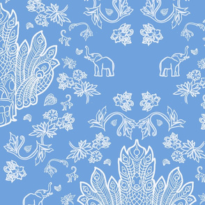 Mayura Raksha White on Blue