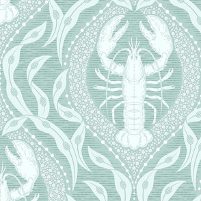 Lobster and Seaweed Nautical Damask -