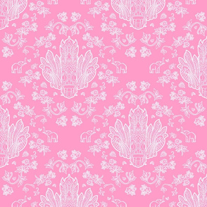 Mayura Raksha White on Pink