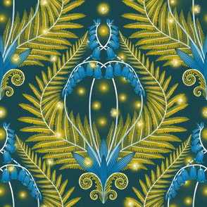 Fireflies, bluebells and ferns damask - jumbo scale