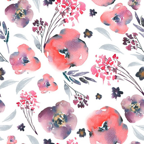 Abstract watercolor floral pattern in a la prima style,