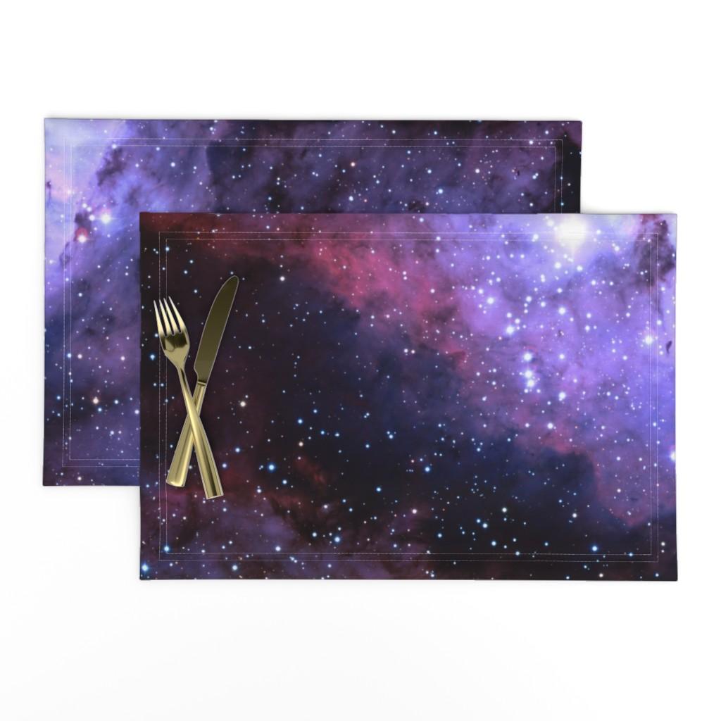 Lamona Cloth Placemats featuring Carina Nebula (edited, blue) by azizakadyri