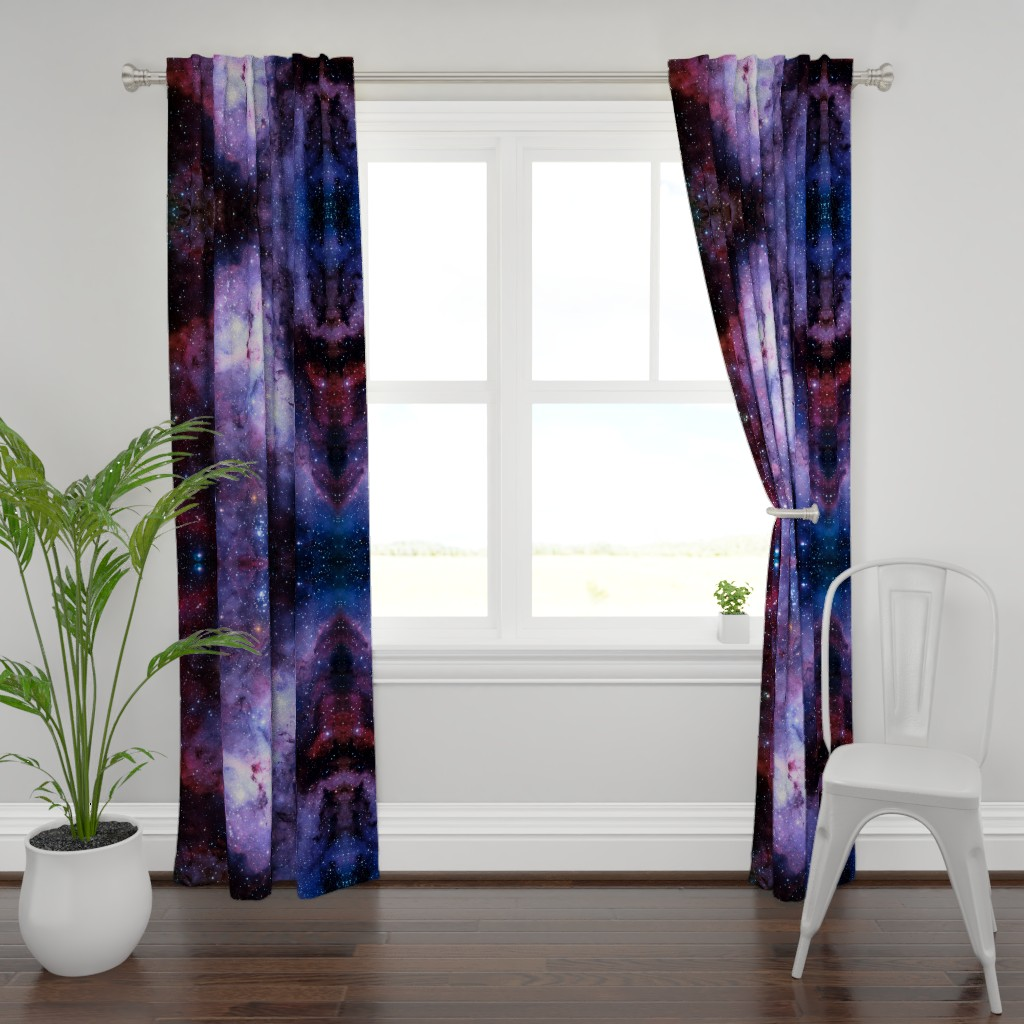 Plymouth Curtain Panel featuring Carina Nebula (edited, blue) by azizakadyri