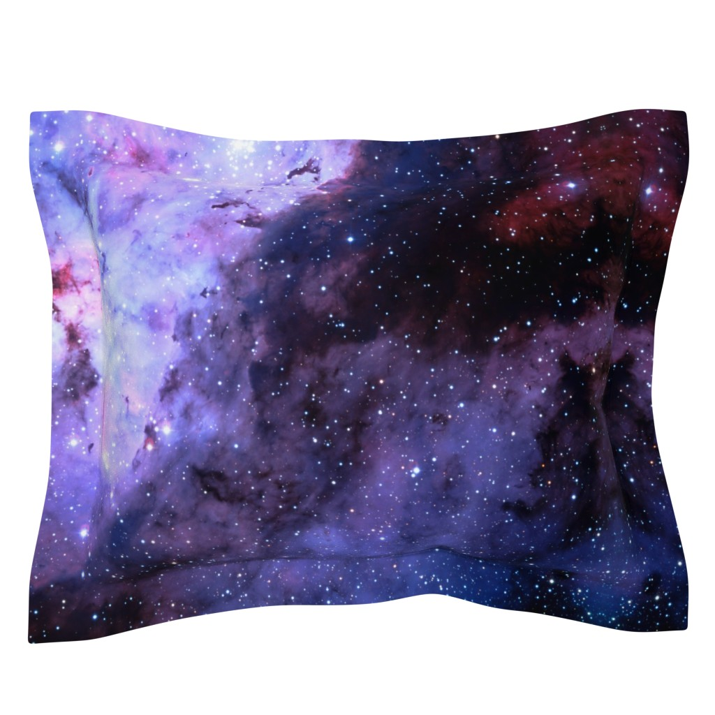 Sebright Pillow Sham featuring Carina Nebula (edited, blue) by azizakadyri