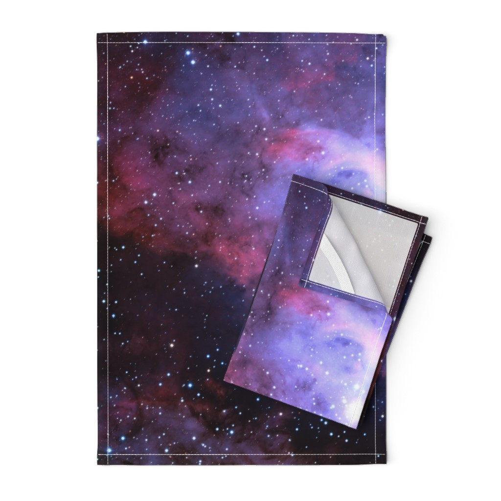 Orpington Tea Towels featuring Carina Nebula (edited, blue) by azizakadyri