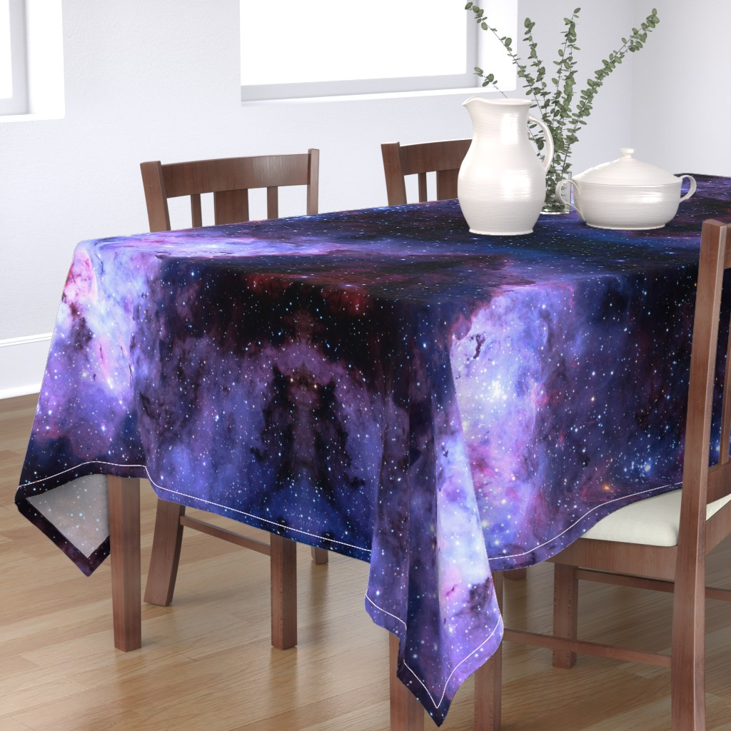 Bantam Rectangular Tablecloth featuring Carina Nebula (edited, blue) by azizakadyri