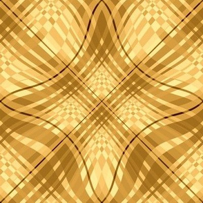 Large - Wavy Diagonal Plaid in Yellow and Gold