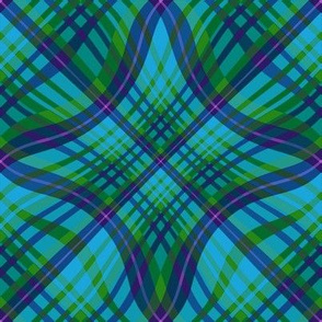 Large - Wavy Diagonal Plaid in Aqua - Green - Purple