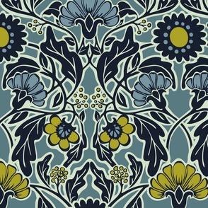 Arts & Crafts Floral -Large - Blue- Garden Quail Collection