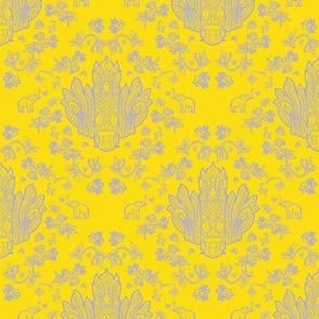 Mayura Raksha Purple on Yellow