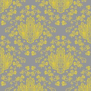 Mayura Raksha Yellow on Grey