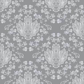 Mayura Raksha White on Grey