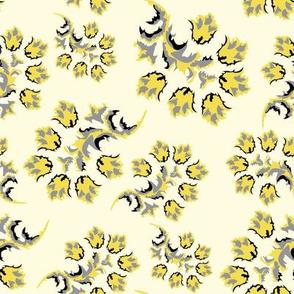 yellow Gray Beige Flower 2