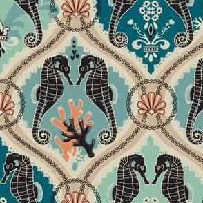 Victorian Rococo Seahorse Coral