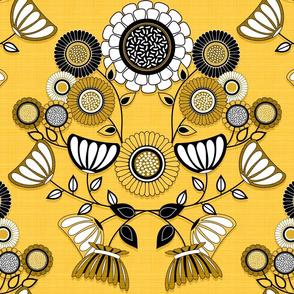 Yellow Scandinavian Flower Damask