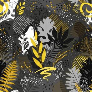 Yellow and Gray Maximalist Botanicals