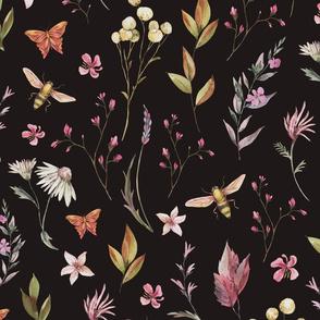 Dark summer flowers