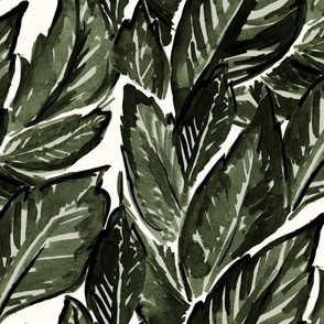 Feathery Leaves-olive cream