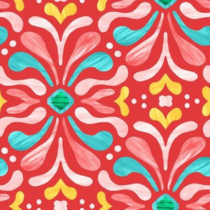 Painterly Damask - Red Fiesta
