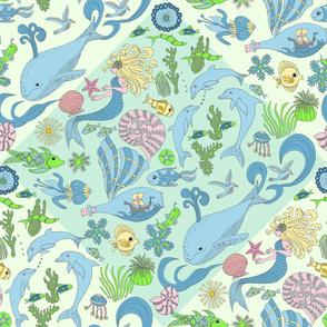 Dreamy Ocean Damask, wallpaper size