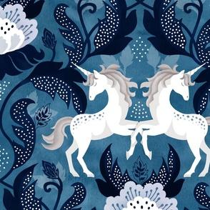 Blue unicorn damask