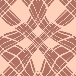 Large - Woven Ribbon Trellis in Cocoa Brown and Cream