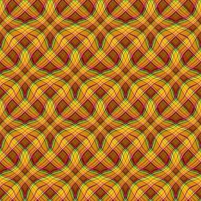 Wavy Diagonal Plaid in Green - Magenta - Orange - Red