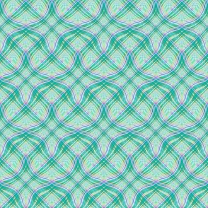 Small - Wavy Diagonal Plaid in Pastels of Green, Yellow and Lavender