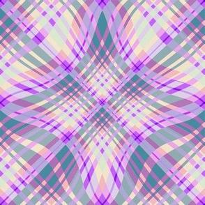 Large - Wavy Diagonal Plaid in Purple - Sage Green - Peach