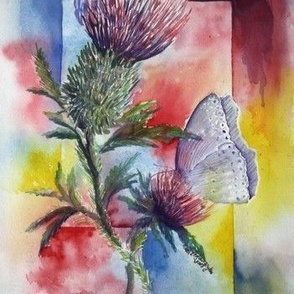 DST1 - Extra Large  -  Watercolor Dreams of Scottish Thistle  - Mirror Image
