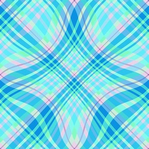 Large  - Wavy Diagonal Plaid in Pink - Aqua - Blue