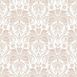 Bauhinia Damask - White and Beige 02