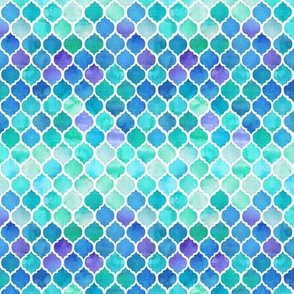 Blue and Green Moroccan Pattern - extra tiny
