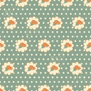 Classic little rose with texture in retrocolorsClassic_little_rose_dots_textureseaml