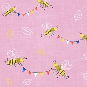 bees with colorful bunting pink