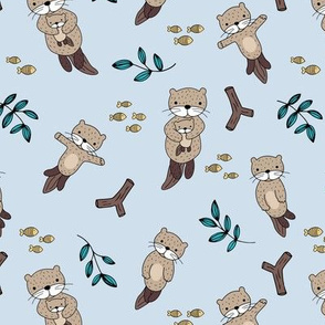 Cute Scandinavian style hand drawn otters and fish water animals blue beige