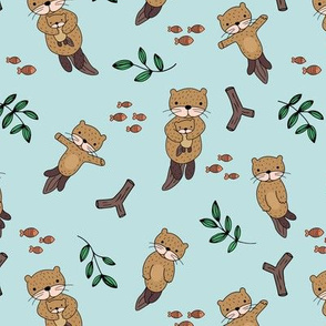 Cute Scandinavian style hand drawn otters and fish water animals minty green cinnamon