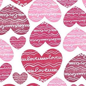 Hearts pink shades