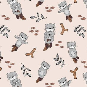 Cute Scandinavian style hand drawn otters and fish water animals soft sand beige grey boys neutral nursery