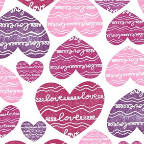 Hearts pink and violet