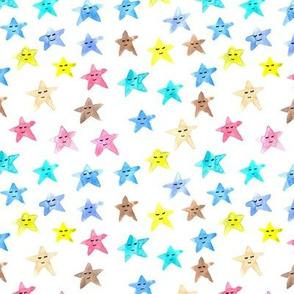 sleeping smiling stars - watercolor starry dreamy pattern for modern sweet nursery kids baby - sute night sky