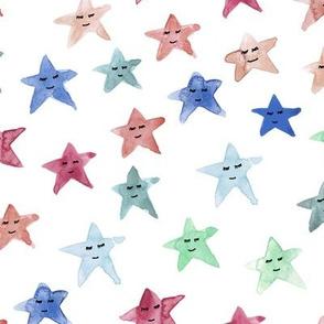 sleeping smiling stars - watercolor starry dreamy pattern for modern sweet nursery kids baby - sute night sky a060