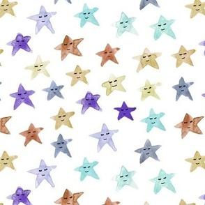 sleeping smiling stars - watercolor starry dreamy pattern for modern sweet nursery kids baby - sute night sky -a060