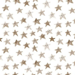 Earthy boho neutral sleeping smiling stars - watercolor starry dreamy pattern for modern sweet nursery kids baby - sute night sky a060