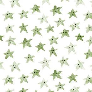 Khaki sleeping smiling stars - watercolor starry dreamy pattern for modern sweet nursery kids baby - sute night sky -a060