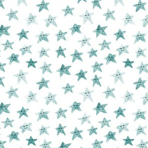 Emerald sleeping smiling stars - watercolor starry dreamy pattern for modern sweet nursery kids baby - cute night sky - a060