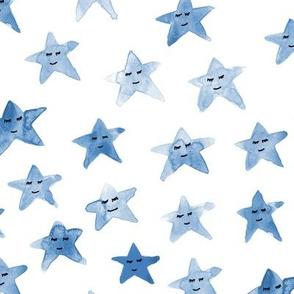 Blue sleeping smiling stars - watercolor starry dreamy pattern for modern sweet nursery kids baby - cute night sky - a060