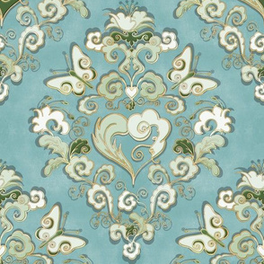 Heart-Damask blue-green